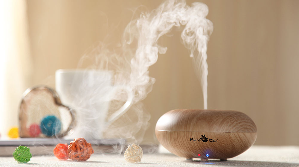 Pure Zen Cool Mist Ultrasonic Humidifier Essential Oils Diffuser