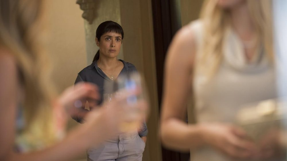 """Beatriz at Dinner."" Salma Hayek, Chloë Sevigny, Connie Britton, Jay Duplass, Nina Arianda, John Lithgow, Amy Landecker, and John Early. Written by Mike White. Yes! (via teasertrailer)"