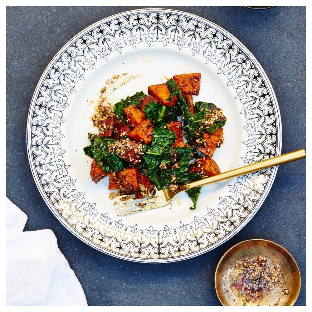 Za'atar Sweet Potatoes + Kale (via the One Part Plant cookbook)