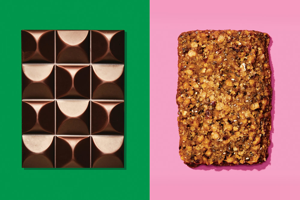 """Many protein bars are as nutritious as candy bars.""  I think that's why I love eating them. (photo by Bobby Doherty via nymag)"
