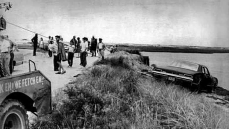 Ted Kennedy's car being pulled from the water next to the Dike Bridge on Chappaquiddick Island in Edgartown on Martha's Vineyard. (AP photo)