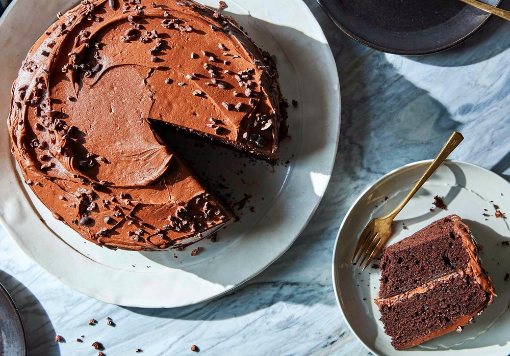 I might have to take on Dorie's tradition for myself or someone in my family. Chocolate-chocolate birthday cake. (image by Gentl and Hyers for The New York Times. Food stylist: Michelle Gatton. Prop stylist: Amy Wilson.)