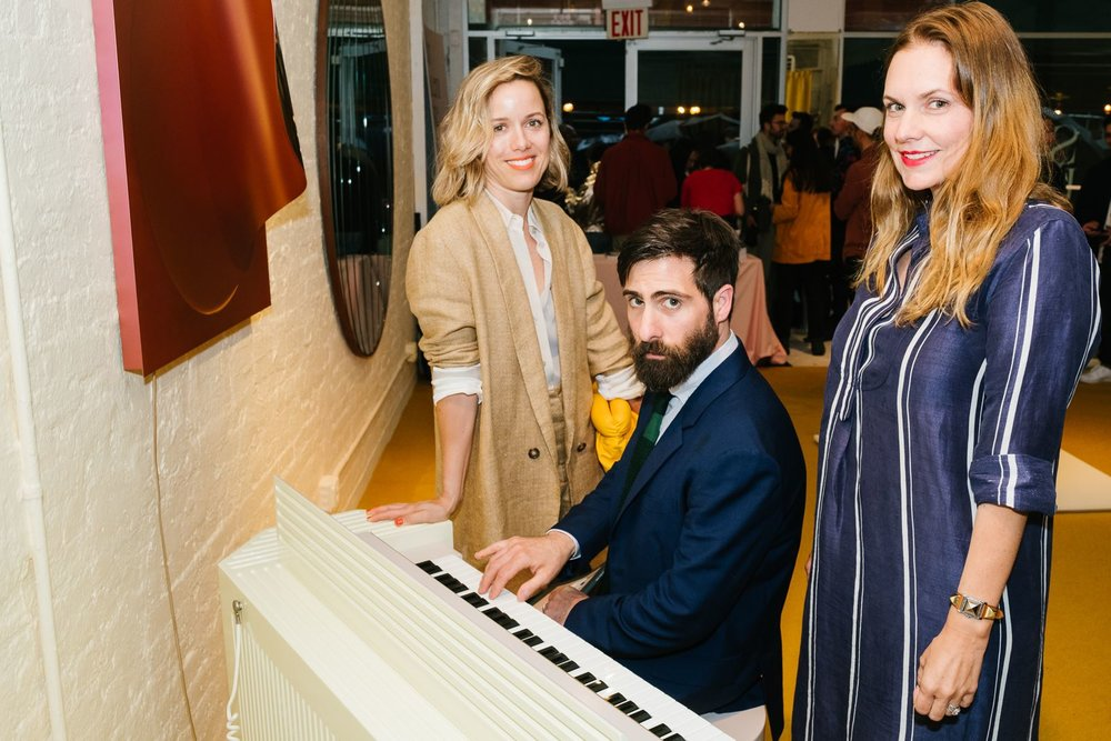 From the OFFSITE party. Brady Cunningham (wife), Jason, and Katy Burgess (Brady's Wall For Apricots business partner), and the pianette. (image by Don Stahl via sightunseen)