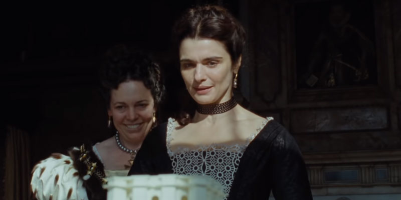 Olivia Colman and Rachel Weisz in the  The Favourite .