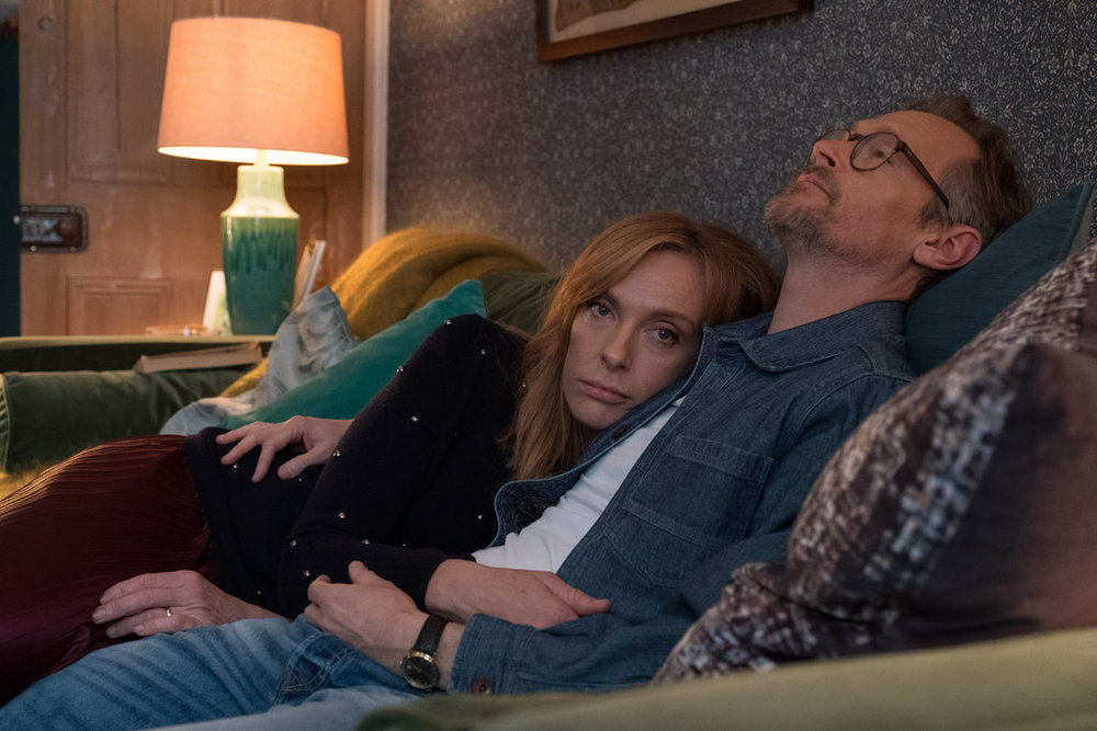 Toni Collette and Steven Mackintosh. (image via Matt Squire/Netflix)