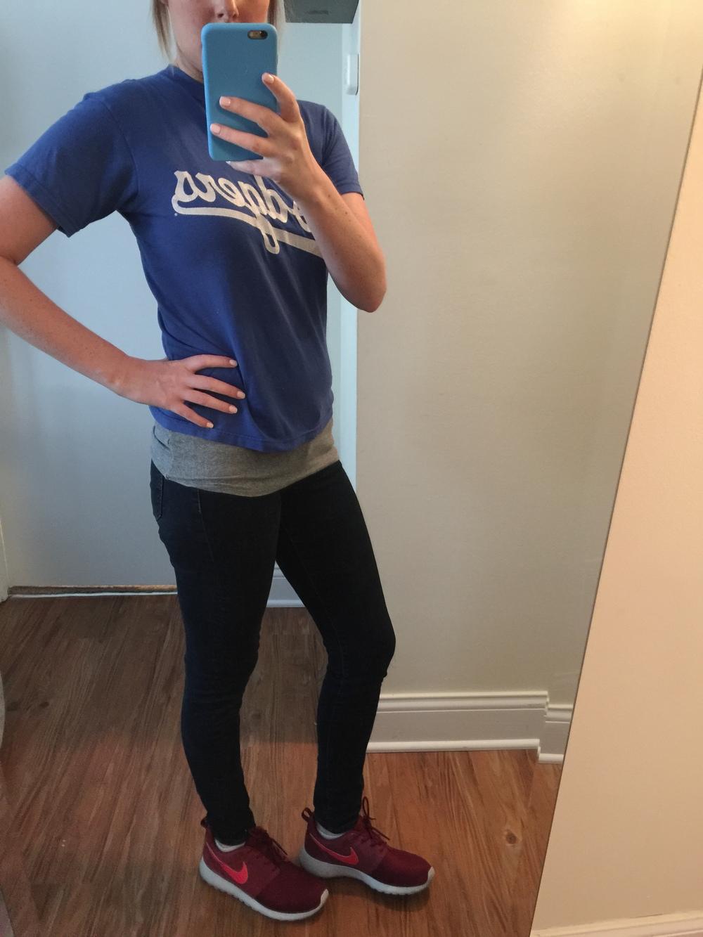 Shirt: GoodwillJeans: KUT, Mia Toothpick Skinny-Nordstorm, Shoes: Nike, Roshe One