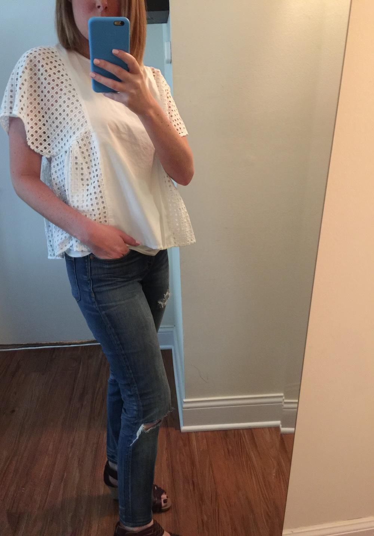 Shirt: Madewelland Jeans:  Madewell, High Riser Skinny  Shoes: Clarks