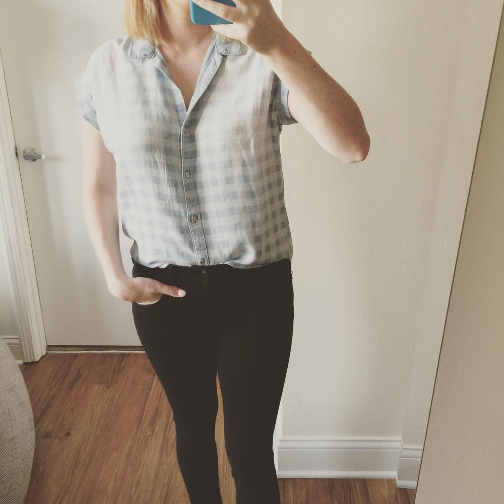 Shirt: Anthropolgie, Cloth and Stone,  Celestine Buttondown ,  Jeans: Express, Legging,  Mia-Mid Rise
