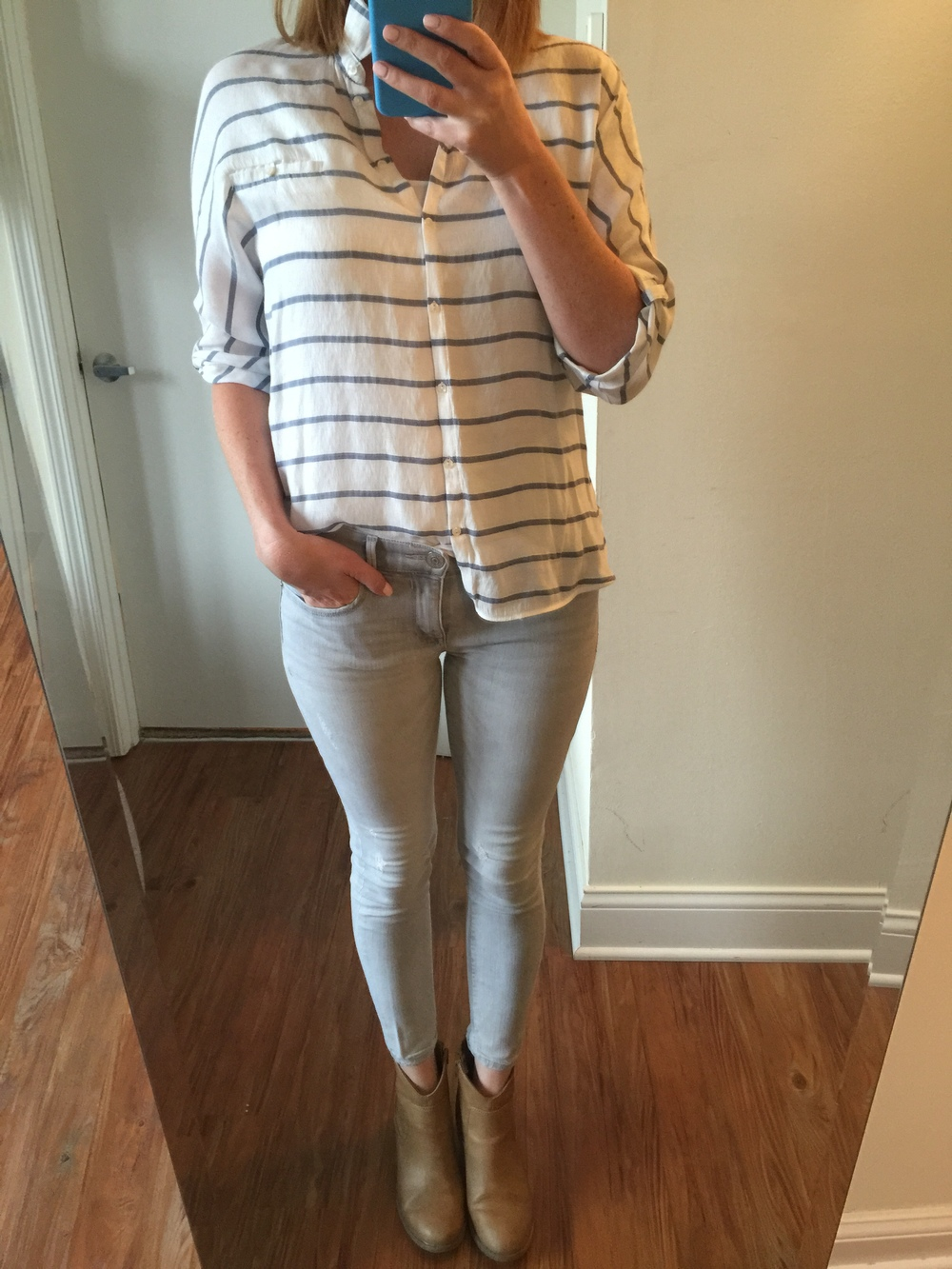 Top: Zara, Jeans: Express, Ankle Legging, Mia-Mid Rise,Shoes: Old Navy