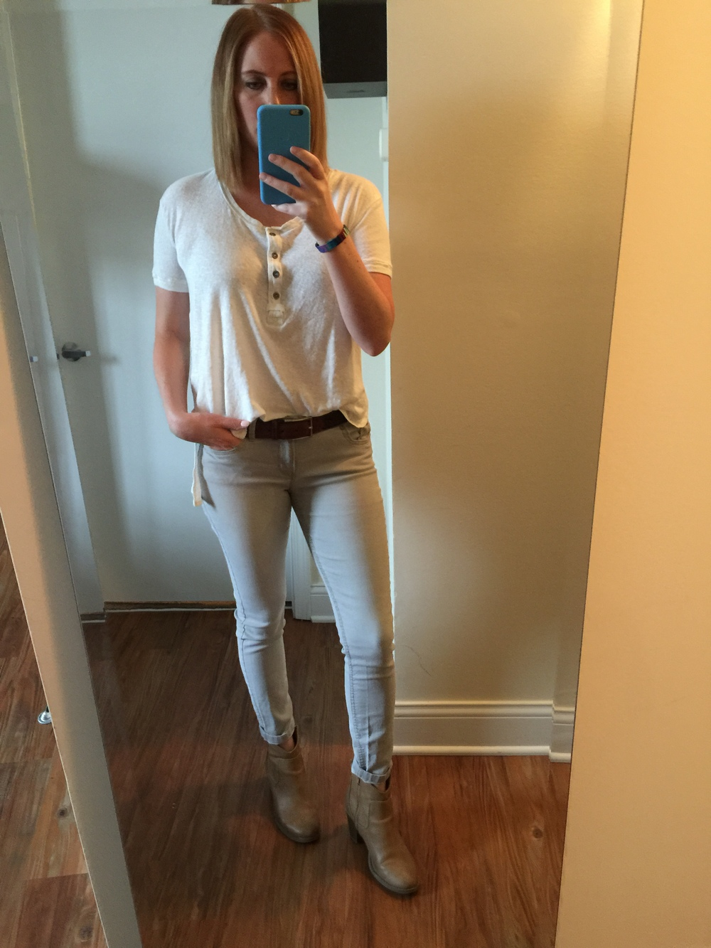 Shirt: Free People,  We The Free Downtown Girl Henley  Jeans: Express,  Ankle Legging, Mia-Mid Rise, Shoes: Old Navy