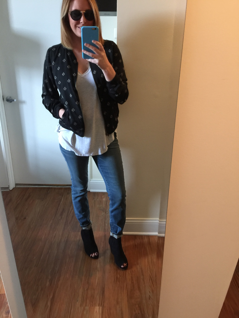 Jacket: Old Navy,   Patterned Bomber Jacket-Black , T-shirt: Anthropologie:  V-neck,  Jeans: Madewell,  High Riser Skinny in Atlantic Wash , Shoes: Old Navy,  Sueded Open-Toe Ankle Boots