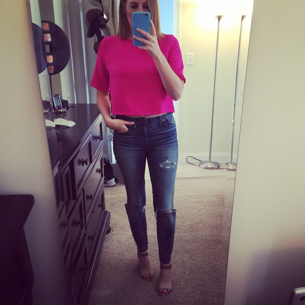 Top: Francesca's, Jeans: Madewell,  High Riser Skinny , Shoes: DSW