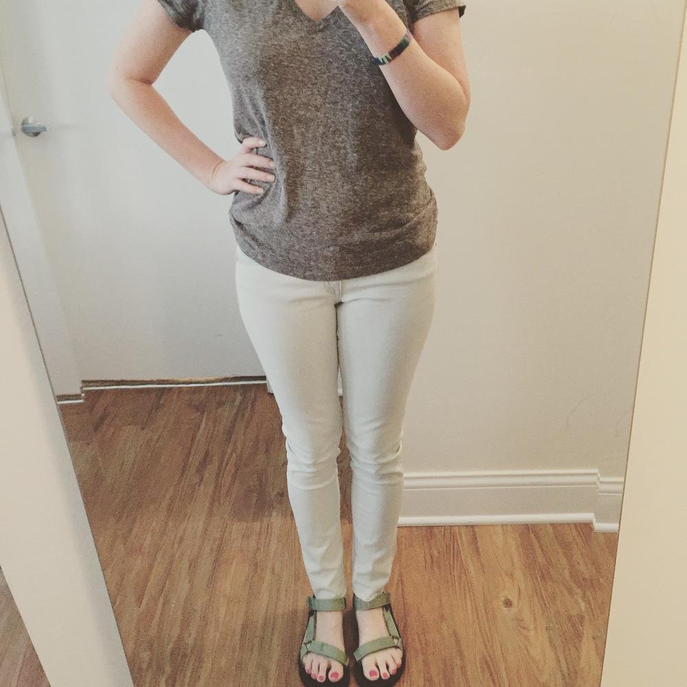 T-shirt:Urban Outfitters, Jeans: H&M , Sandals: Teva, Women's Original Universal Sandal