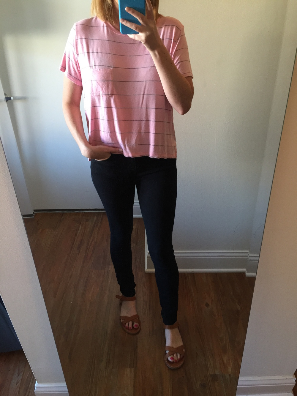 Shirt: American Eagle,  Soft and Sexy Baby T,  Jeans: Express, Legging,  Mia-Mid Rise , Sandals: Madewell