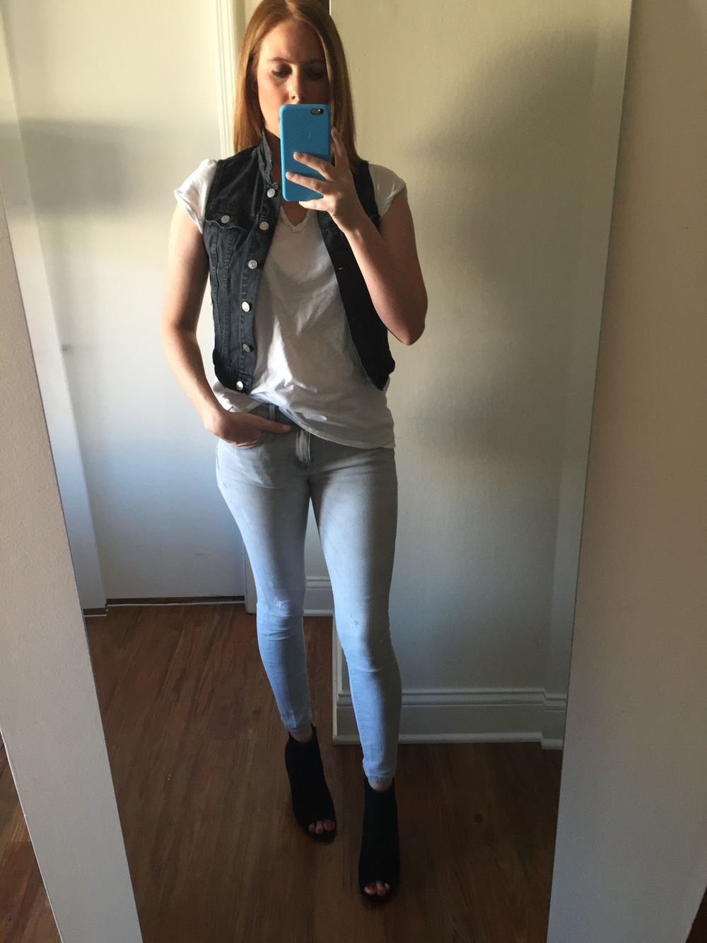 Vest: H&M, T-shirt: Anthropologie, Jeans: Ankle Legging, Mia-Mid Rise, Shoes: Old Navy,  Sueded Open-Toe Ankle Boots