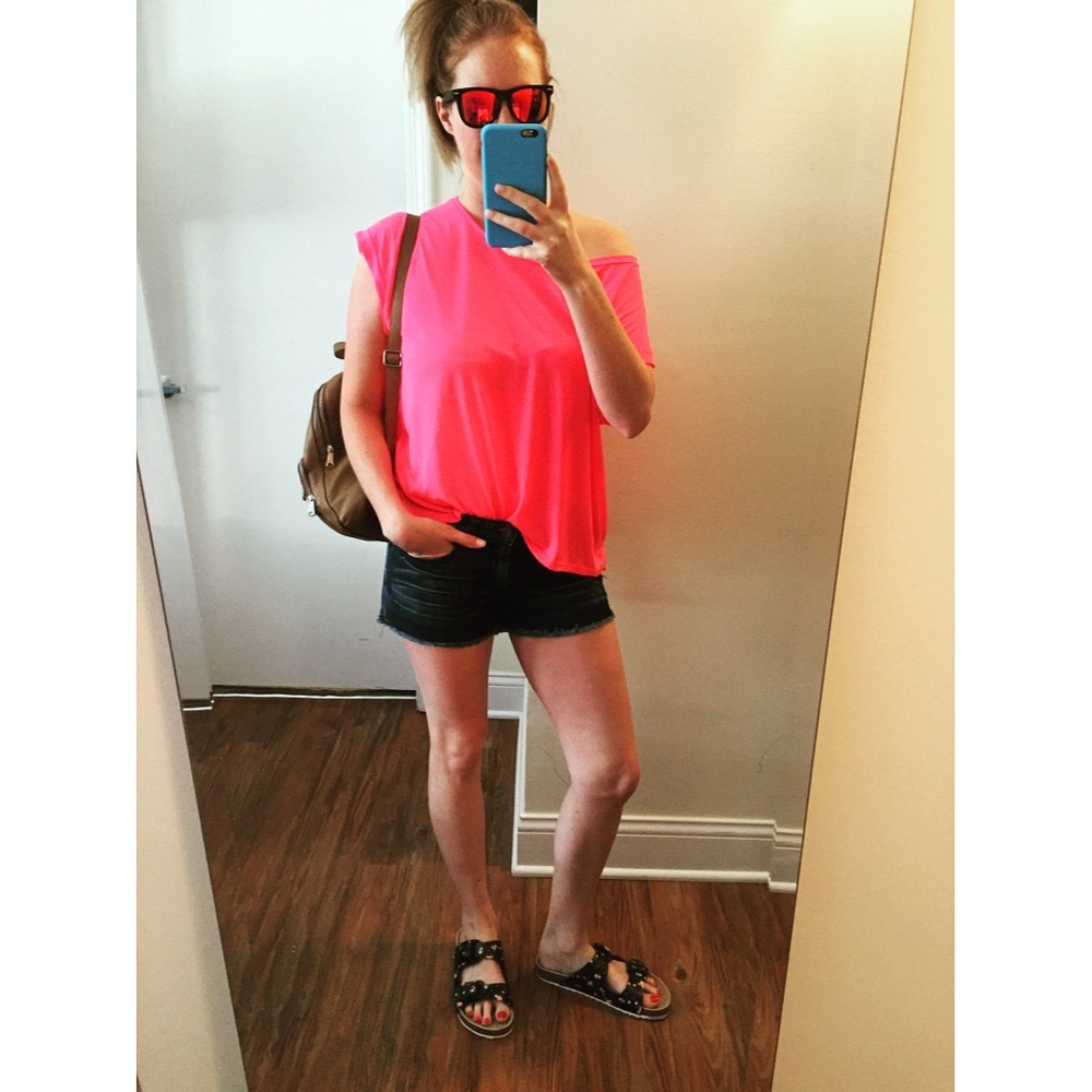 Sunglasses: Amazon,  Wayfarer Sunglasses Classic 80's Vintage Style  , Top: H&M, Shorts: Gap, Sandals: American Eagle