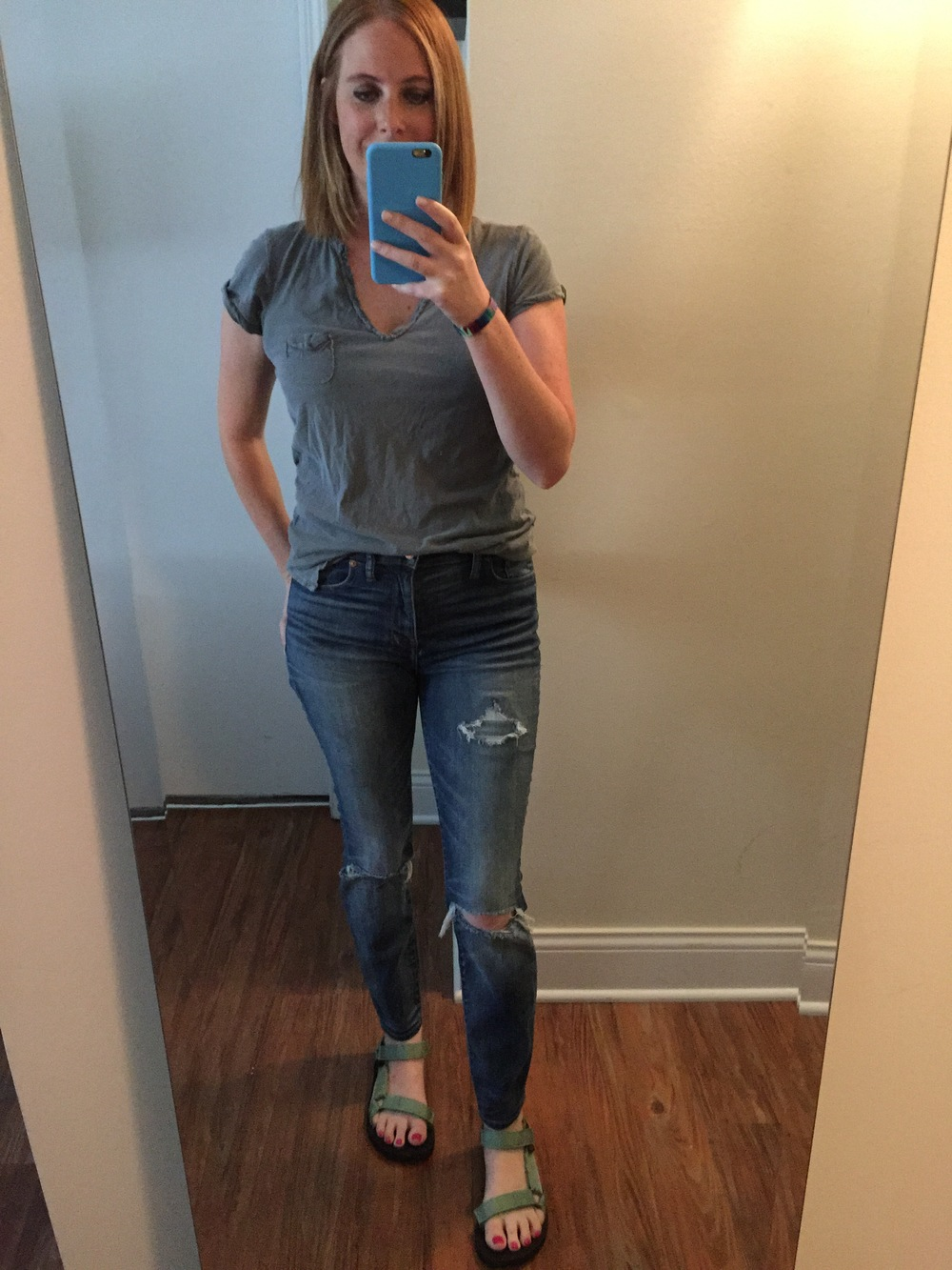 T-shirt: Anthropologie, Jeans: Madewell,  High Riser Skinny , Sandals: Teva,  Women's Original Universal Sandal