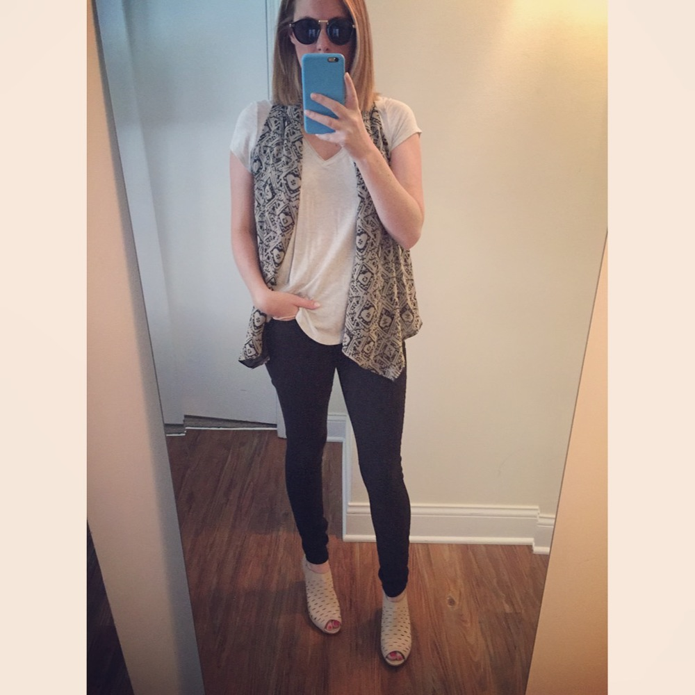 T-shirt: Anthropologie, Vest: Nordstrom, Jeans: Express, Legging,  Mia-Mid Rise , Sandals: Clarks, Sunglasses:   zeroUV - Vintage Inspired Round Horned Rim P-3 Frame Retro Sunglasses