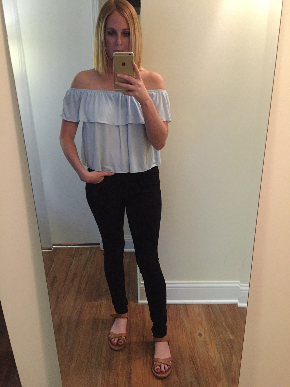 Top: Topshop for Nordstrom, Jeans: Express, Legging,  Mia-Mid Rise , Sandals: Madewell