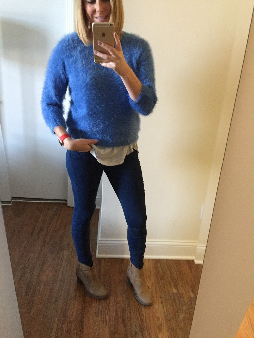 Sweater: Forever 21 (last year), Jeans Gap,  1969 Resolution legging jean,  Boots: Old Navy, Watch:Apple, 38mm Gold Aluminum Case  (with (PRODUCT) RED Sport Band)