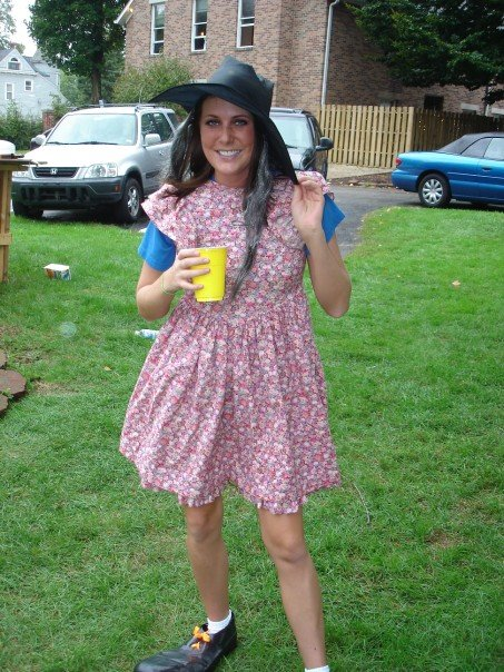 A witch in a sundress with clown shoes, DUH. I think me and my roommates yelled this exact phrase probably 50x that day. In my defense it was a last minute costume party and this was the only thing we had around the house.