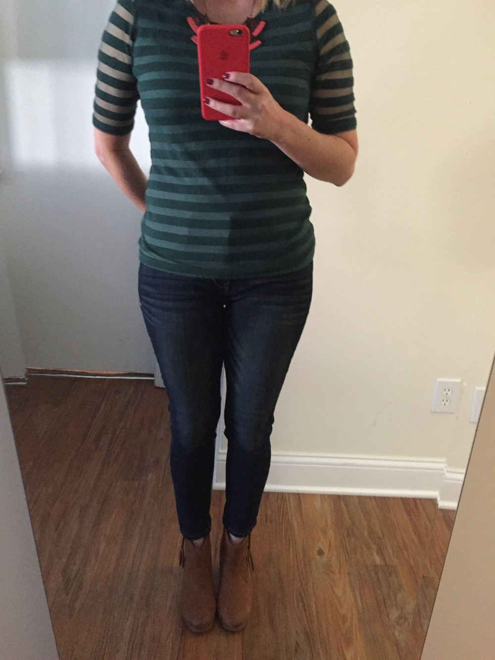 Top: Anthropologie, Jeans: Express,  Dark Wash Mid Rise Supersoft Jean Legging , Boots: Aldo, Necklace: Anthropologie