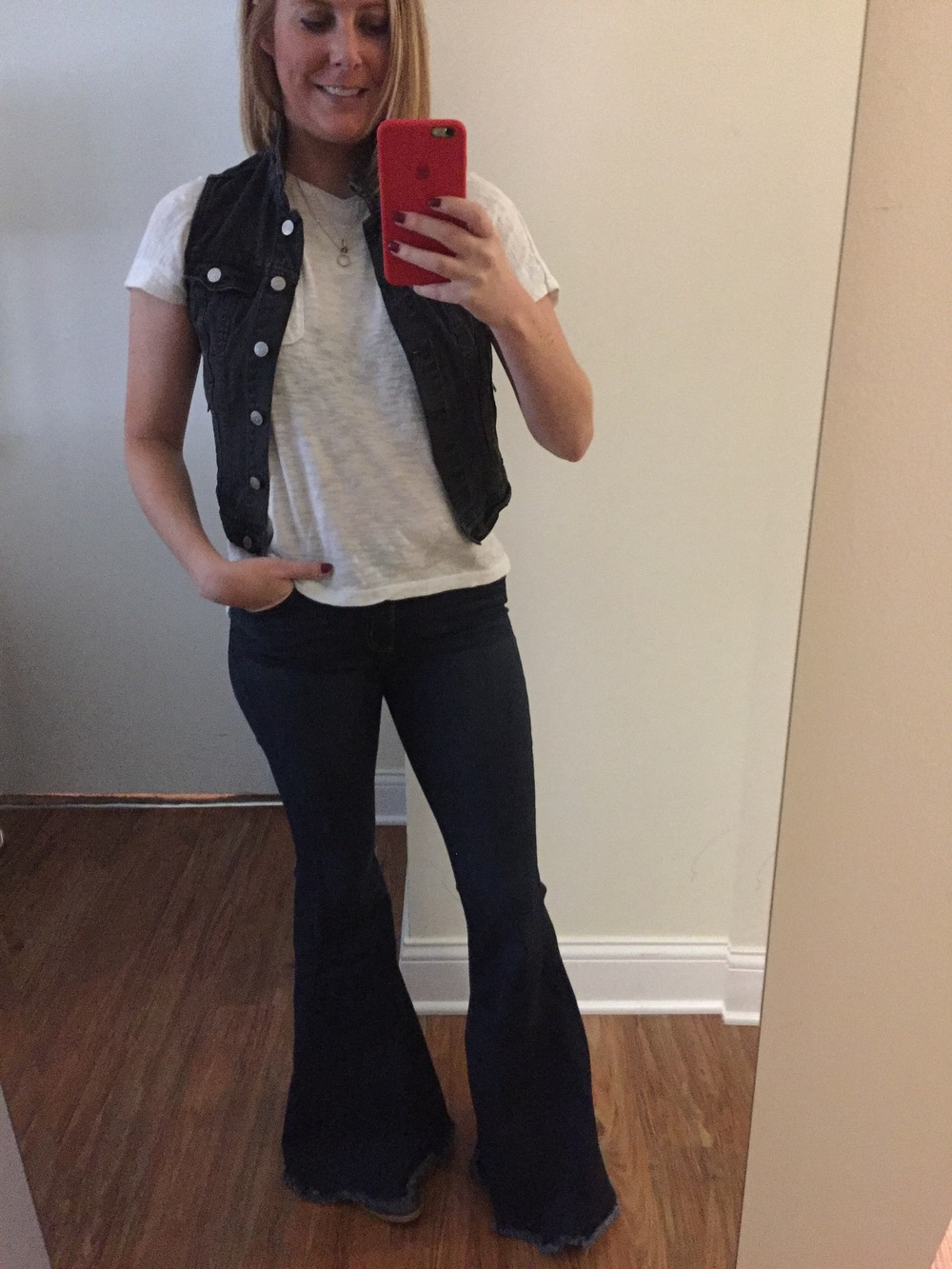 Vest: H&M, T-shirt: Loft, Jeans: Free People,  Denim Super Flare,