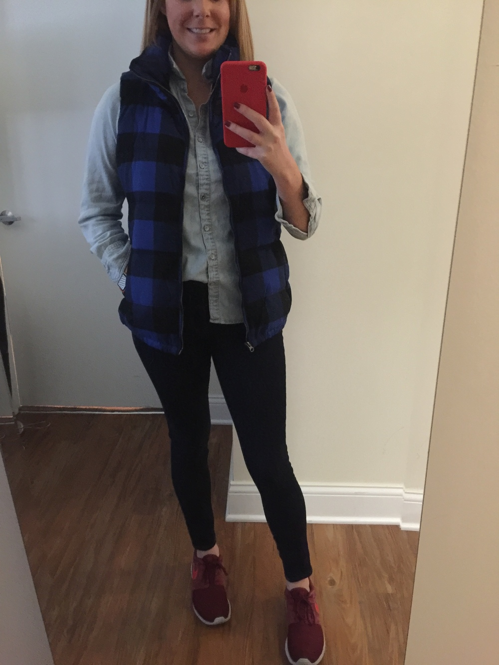 Vest:  Plaid Forst Free Vest , Top: Target, Jeans:  Solid Dark Mid Rise Jean Legging , Shoes: Nike, Roshe One