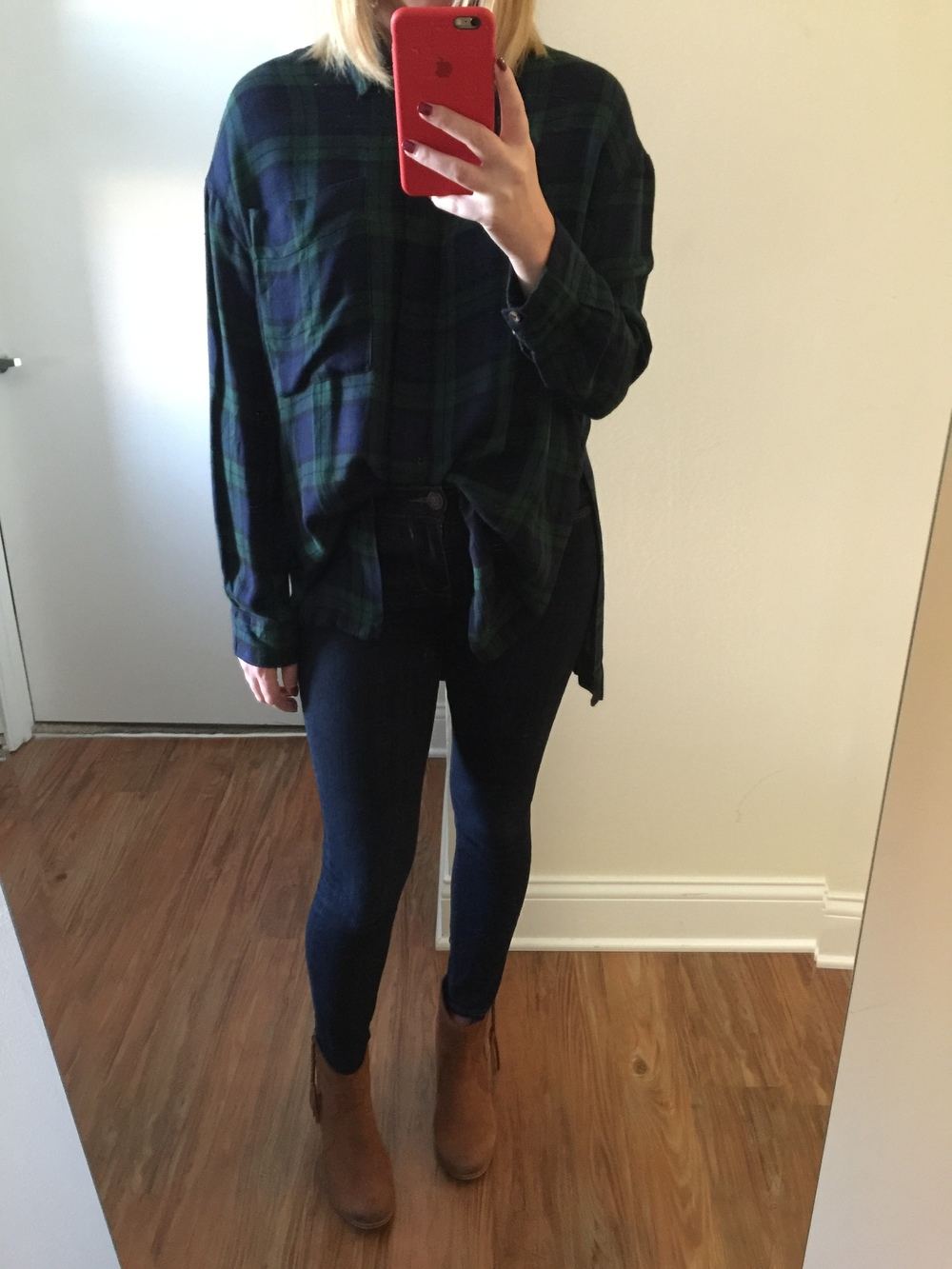 Top:  Urban Outfitters, BDG Logan Button-Down Shirt , Jeans:  Solid Dark Mid Rise Jean Legging , Boots: Aldo