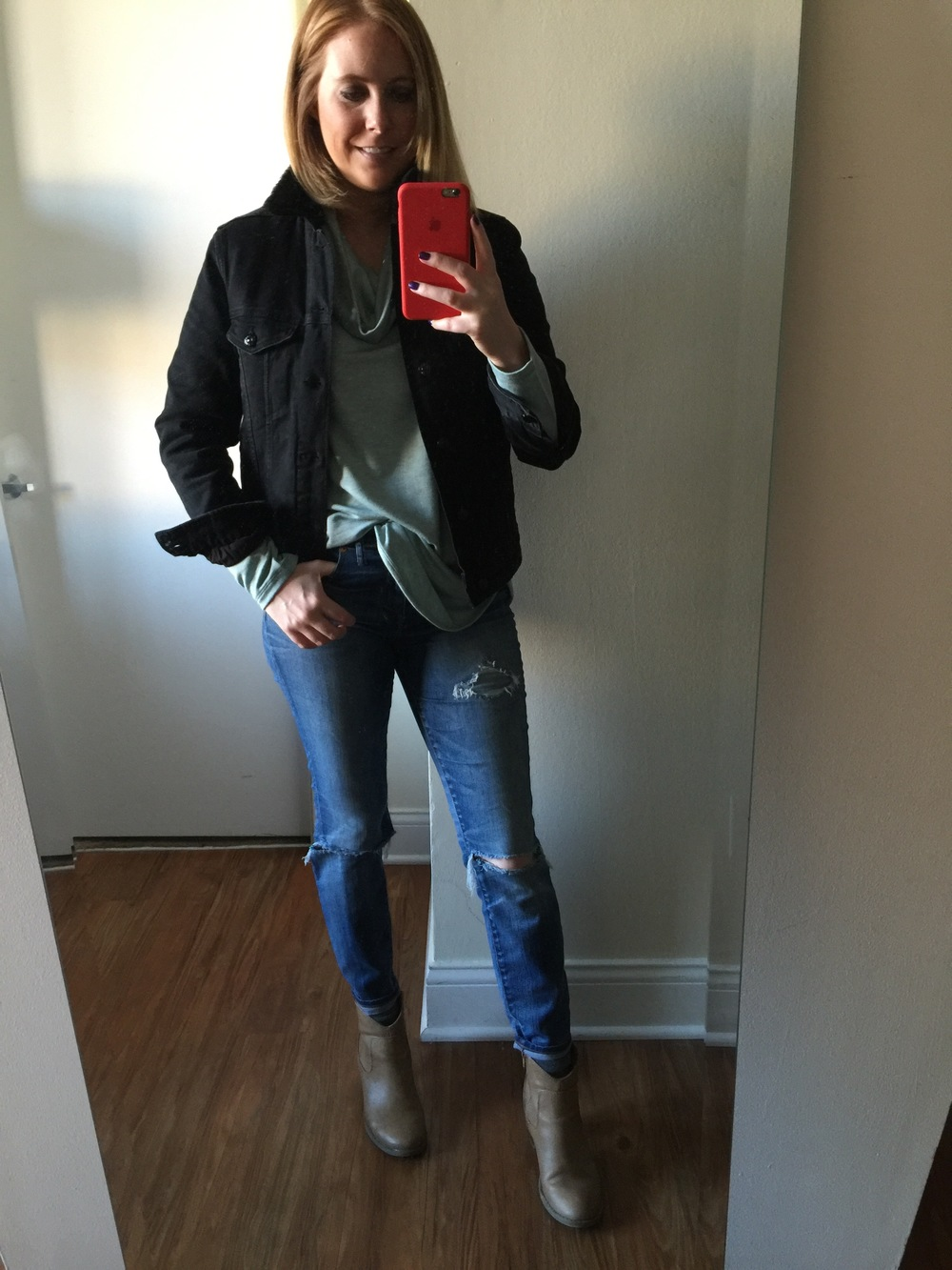 Jacket: H&M, Top: Loft, Lou & Grey,  Signaturesoft Cowl Tunic,  Jeans:  Madewell,  High Riser Skinny , Boots: Old Navy