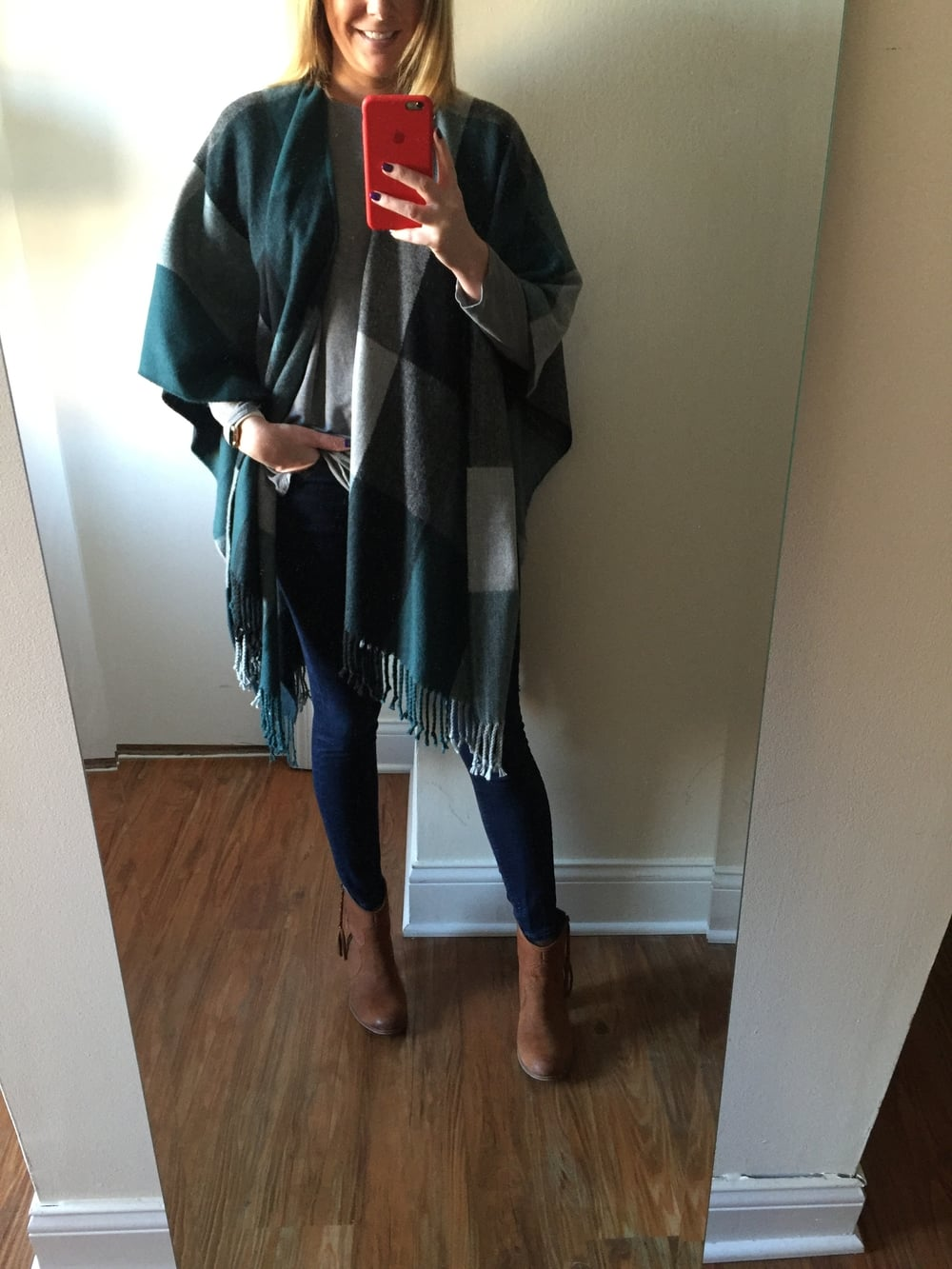 Poncho: Loft, Jeans: Express,  Solid Dark Mid Rise Jean Legging , Booties: Aldo