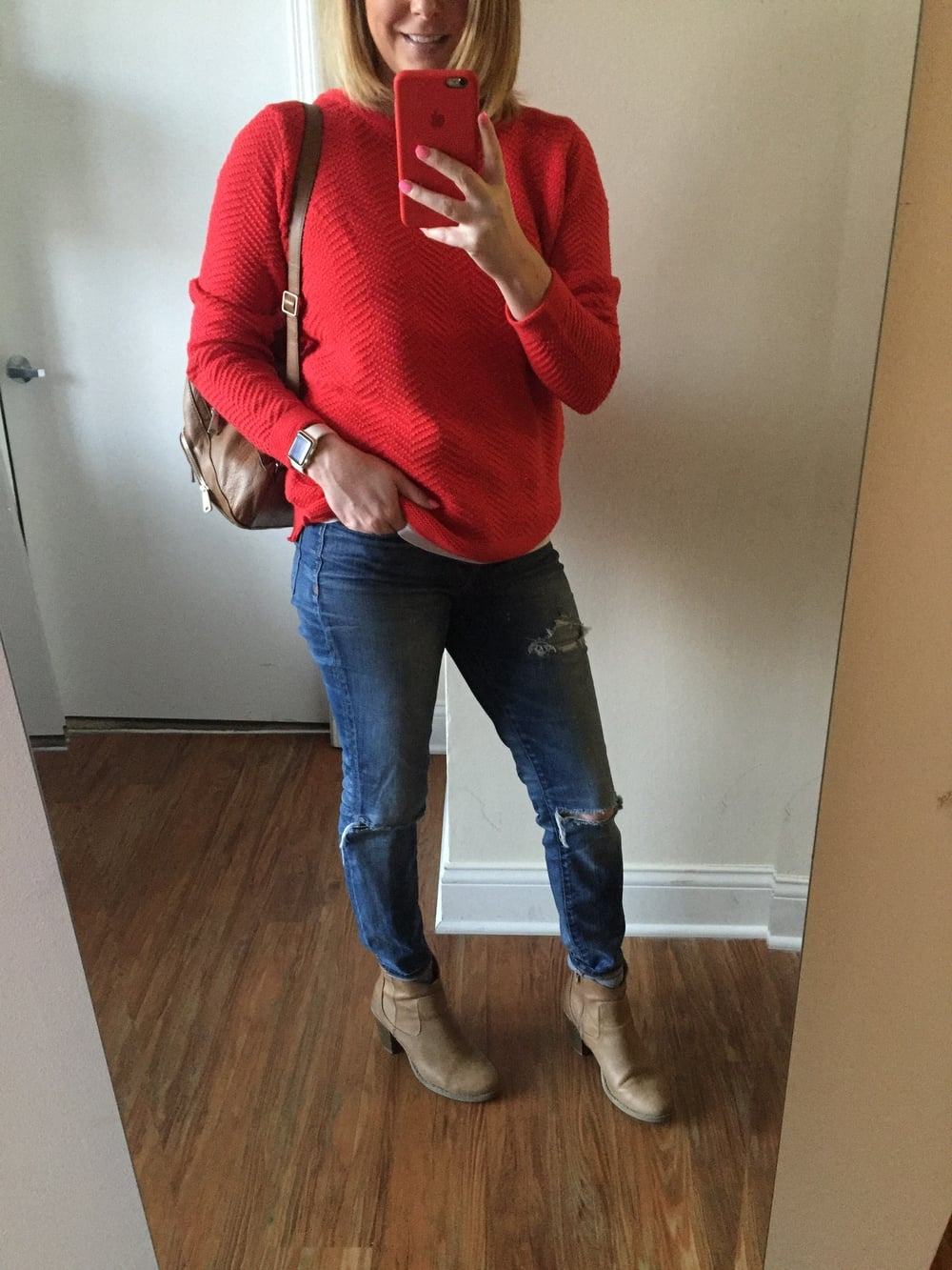 Sweater: Old Navy,  Women's Textured Chevron-Stitch Sweater ,   Jeans: Madewell,  High Riser Skinny , Booties: Old Navy, Backpack: Fossil, Watch: Apple,  38mm Gold Aluminum Case  (with Antique White Sport Band)