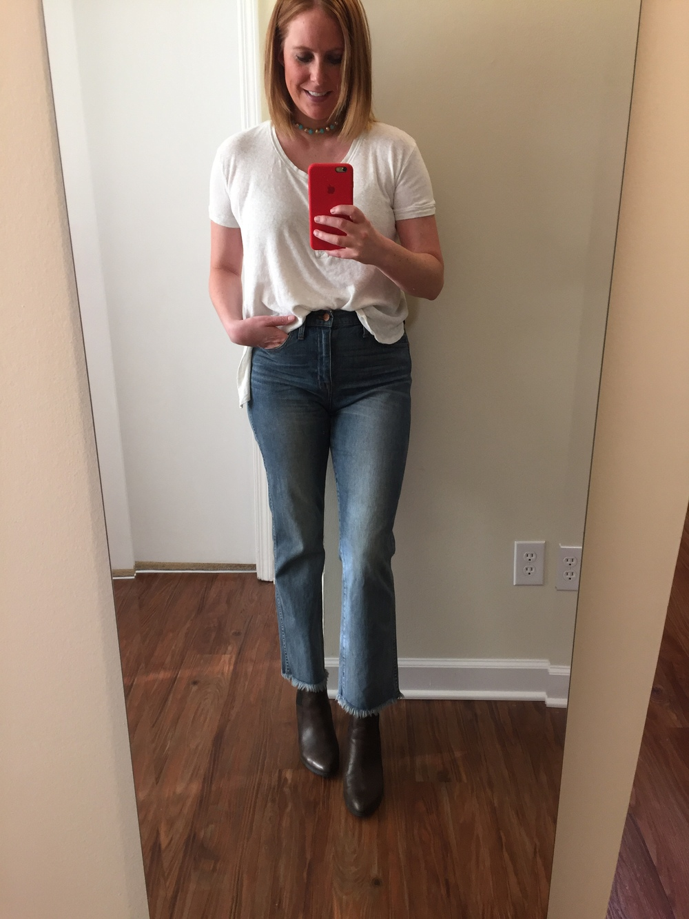 Top: Free People,  We The Free Downtown Girl Henley , Jeans: Madewell,  cali demi-boot jeans , Booties: Clarks,  Kadri Liana , Choker: Broadripple Vintage