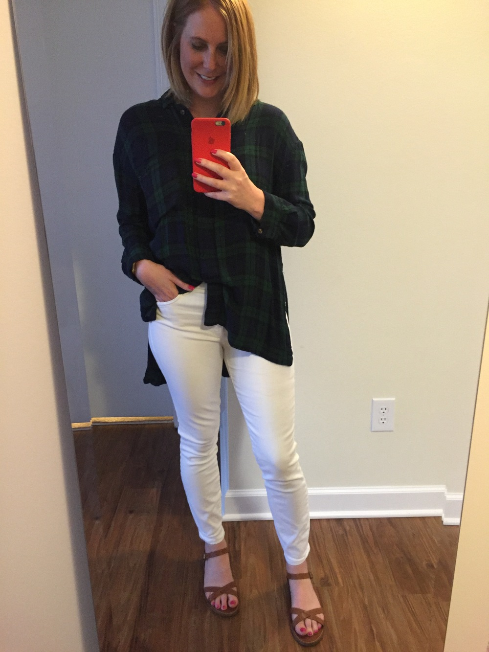 Top: Urban Outfitters,  BGD Logan Button-Down Shirt , Jeans: Gap,  STRETCH 1969 true skinny high rise jeans , Sandals: Madewell,  boardwalk crisscross sandals