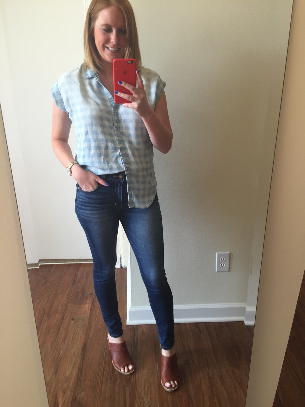 Top: Anthropologie, Cloth & Stone,  Celestine Button Down , Jeans: American Eagle,  Hi-Rise Jegging , Mules: Nordstrom, Toms,  Majorca Mule Sandal , Watch: Nordstrom, Michael Kors,  Darci Round Bracelet Watch, 39mm
