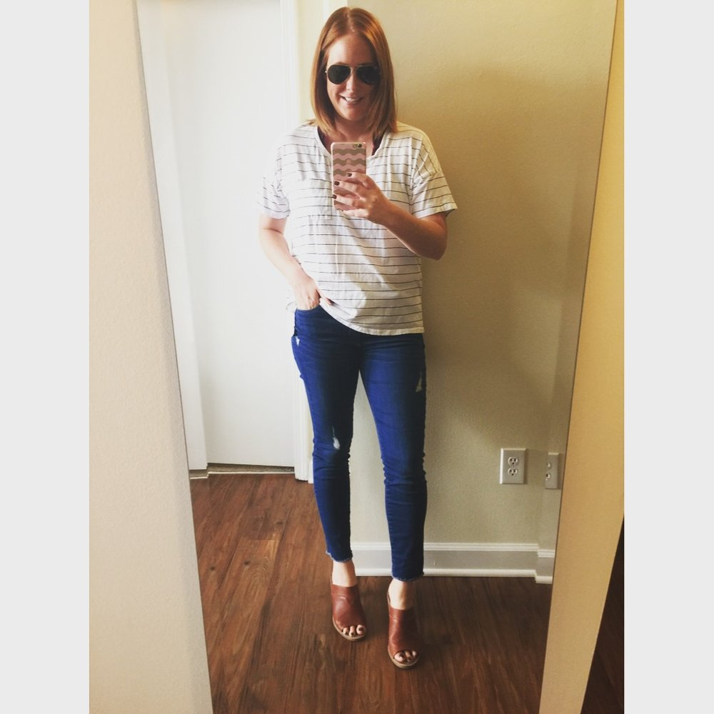 Top: Old Navy,  Boyfriend Pocket Tee , Bralette, Urban Outfitters,  Out From Under Lace Halter Bra , Jeans: Gap,  Authentic 1969 true skinny ankle jean s, Mules: Toms,  Majorca Mule , Sunglasses: Ray-Ban,  Aviator Classics