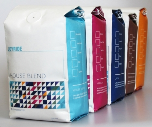 The Joyride coffee line offers specialty coffee at an incredibly great value  Five selections ranging in profiles: House blend, Espresso blend and Decaf + rotating Single Origins from Africa and Latin America.