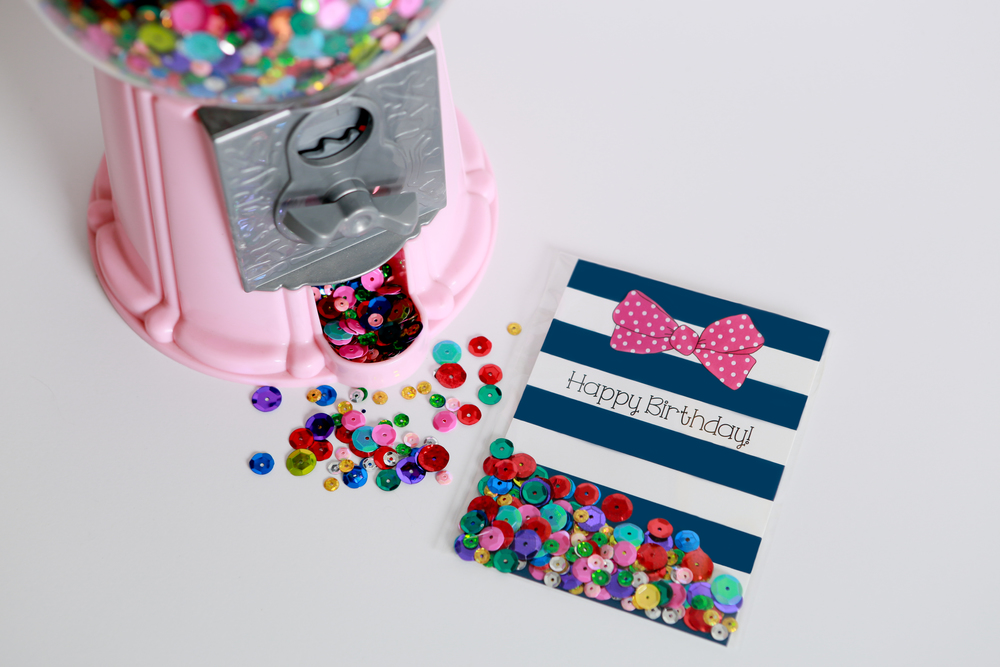 paper and sequins gift tag shaker card