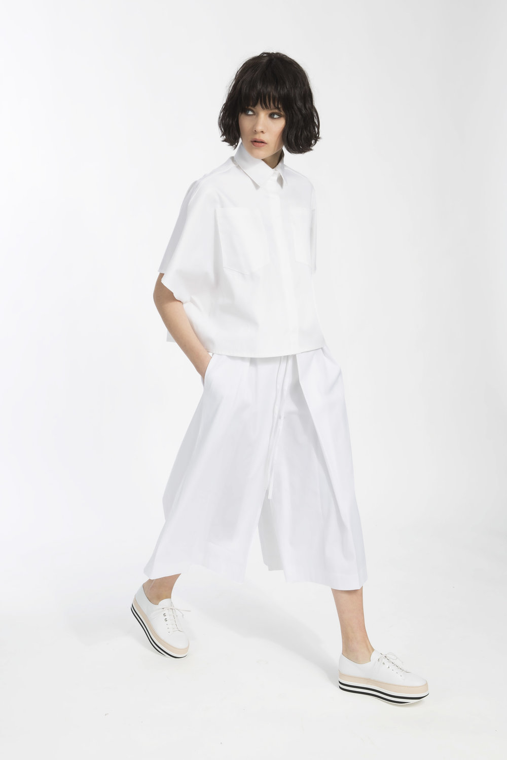 Deena shirt - White cotton popeline shirt