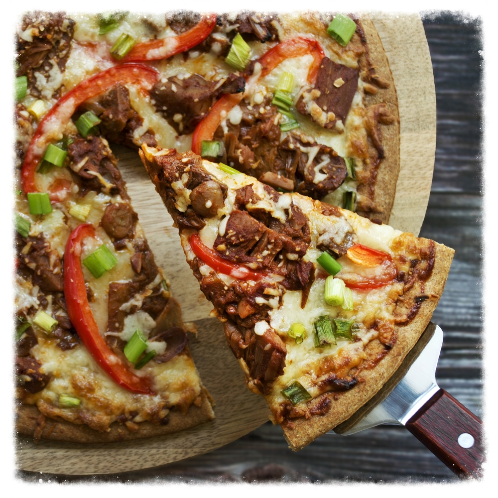 BBQ jackfruit pizza  Recipe & styling: Carlos C Olaechea  Photography: Sonya Highfield