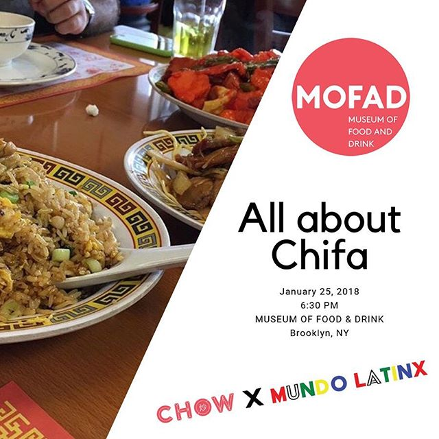 On Friday, Jan 25, join @MOFAD @malacreative @thegirlmob @incakolausa and @mingriverbaijiu to learn more about the unique cultural and culinary phenomenon known as #ChinoLatino with invited guests Professors Lok Siu, @chinotronic and Kathleen Lopez x @carloscuisine x @paochachanyc x @littleladycook x @outsiderschicago + a special #ChineseCuban recipe by @supermario_m of @coladashop + free beer courtesy of @brooklynbrewery and a Cuban salsa dance lessons to kick off the night! Ticket link in bio- Note: #Chowx series events sell out very quickly. . . . . #chef #chinesefood #latinx #latinasian #asianfood #nyceats #brooklyn #culinarydiplomacy #breakingbread #brooklyn #foodisculture #asianamerican #chifa #peru #venezuela #mexico #china #cuba #baijiu #salsadancing #streetfood #PanamanianFood #ChinoPanameño #BarrioChino #Panama
