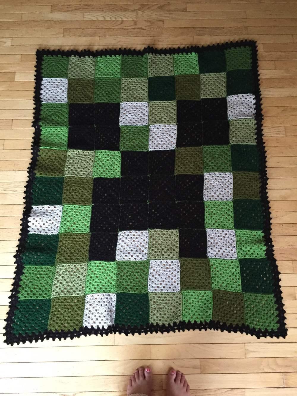Minecraft Creeper Crocheted Blanket Whitney Archer