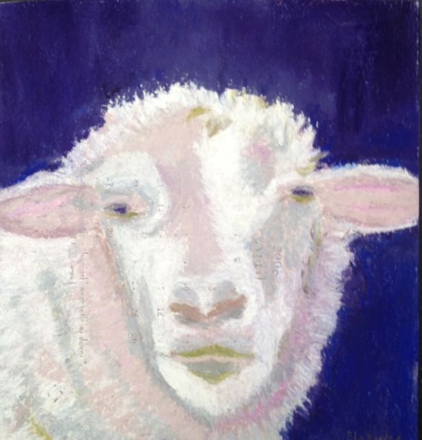 Sheep Portrait Pastel, MIxed Media 2015