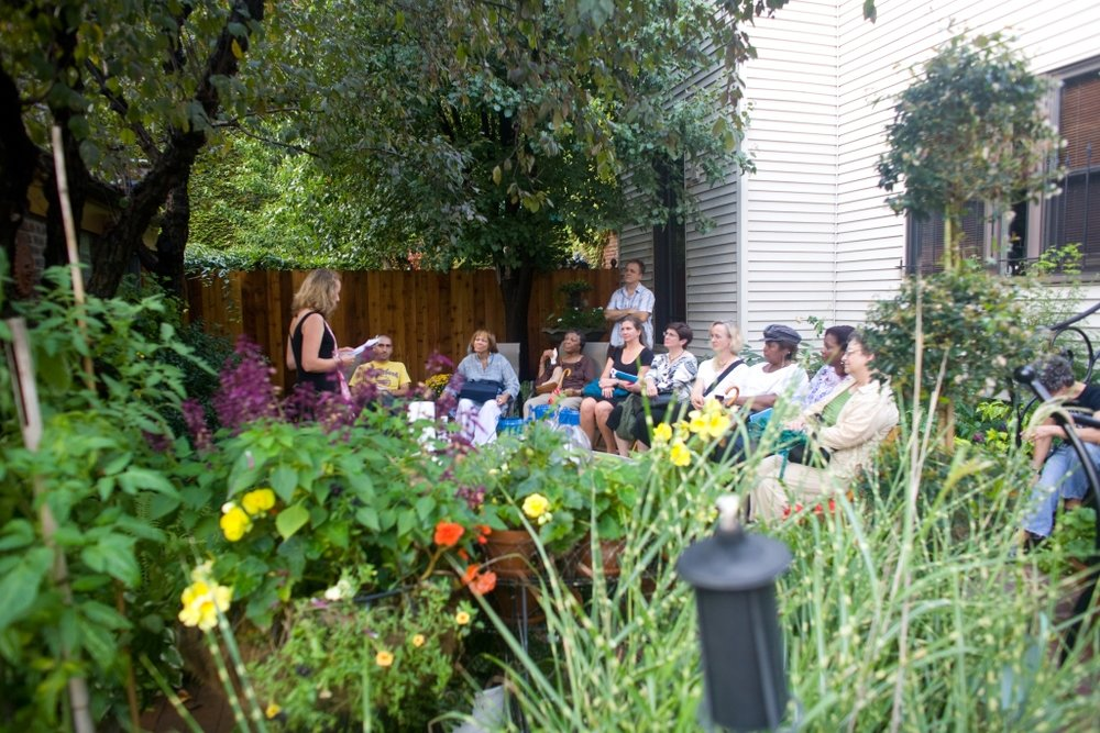 Flowers, 90 Fahrenheit and a lovely audience.  City of Asylum Pittsburgh's Writers in the Gardens series.  Photo: Renee Rosensteel.