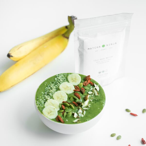 - Ingredients:4 frozen Bananas3 teaspoons Matcha Ninja1 cup baby Spinach1 tablespoon Goji berries1 tablespoon Chia seeds2 tbsps Coconut or Soy Yoghurt½ cup Coconut Water (optional)--Place all ingredients into blender and pulse until purifiedTop with additional fruit, nuts, etc.