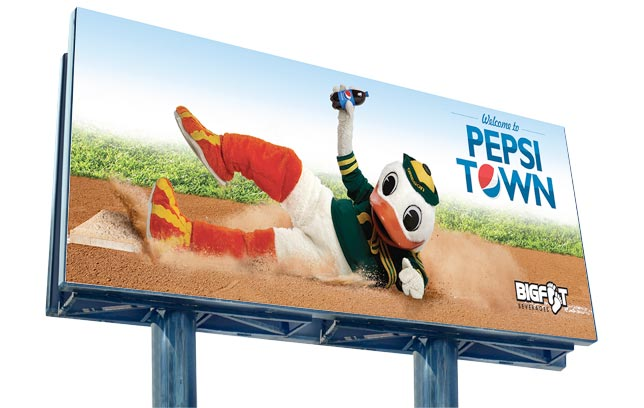 Bigfoot / Pepsi - Baseball Duck billboard demonstrates Bigfoot Beverages and Pepsi's ongoing support of the University of Oregon Ducks.
