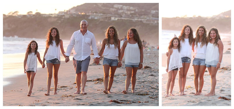 This family chose to wear all white for their sunset photo session in Laguna Niguel.