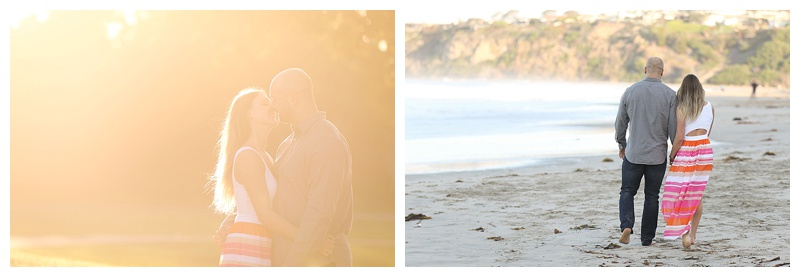 Some fun sunlight effects and casual beach stroll make for great couple photos.