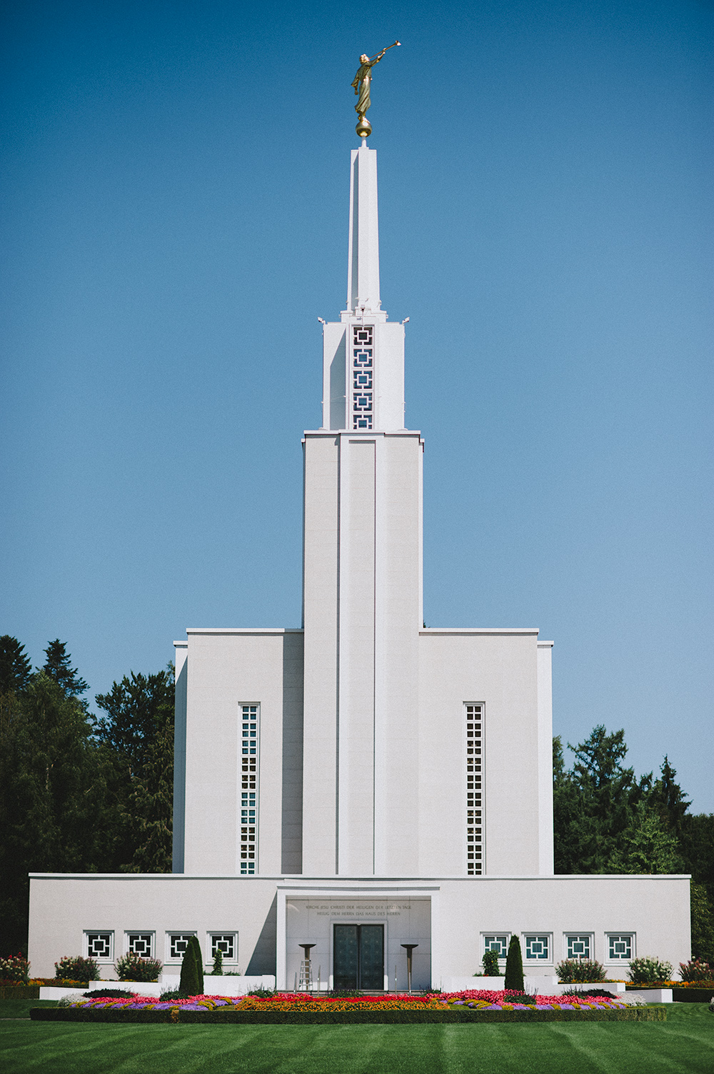 Bern Switzerland Temple, dedicated in 1955 by President McKay; rededicated in 1992 by President Hinckley