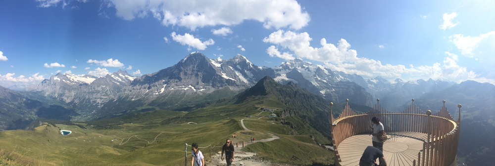 Top of the Royal Walk looking South towards the three peaks:  Eiger, Mönch and Jungfrau.  Thank you for pano mode iPhone!